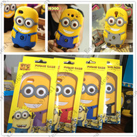 Wholesale with Retail Box D Despicable Me Soft Silicon Cartoon case cover for iphone G S C S Galaxy S3 S4 two big eye M2 yellow man doll