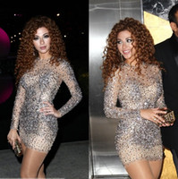 Reference Images rhinestone see through dress - 2015 New Sexy Myriam Fares Prom Dresses Crew Rhinestone Beads Long Sleeve Sheath Short Tulle See Through Celebrity Party Cocktail Gowns