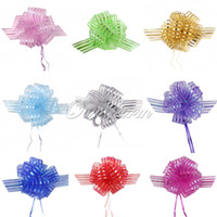Wholesale 10pcs Organza Pull Bow Ribbons Giftwrap Wedding Party favour gift box decoration Striped Scrapbook cm cm