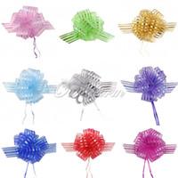 achat en gros de scrapbook rose-10pcs Organza tirez rubans Bow Giftwrap Wedding Party favorise la décoration boîte cadeau Scrapbook rayé 5cm * 130cm