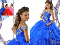 Wholesale 2016 Custom made royal blue spaghetti straps sequins beaded girl s pageant dresses sweep train crystals layered organza ball gowns RG