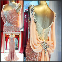 Wholesale 2015 Prom Dresses Shining V Neck Sequins Ruched Rhinestone Beaded Column Sweep Train dresses party Evening Gowns Cheap Price MD166