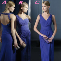 Wholesale 2014 Sexy Backless Prom Dresses Chiffon Wedding Bridesmaid Dresses Long Pleats Royal Blue A Line With Plunging V Neckline Floor Length