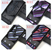 Pure color A-V Neck Tie Set New 170 Style Classic Yarn Dyed Woven Silk Men's Tie Necktie Set Tie+Hanky+Cufflinks(1Set3pcs)giving Tie Clip 25852