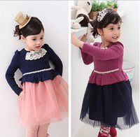 Wholesale 2014 Spring Children Dresses Korean all cotton Collect waist Net yarn Long sleeve Girls Dress year Baby Kids Clothes