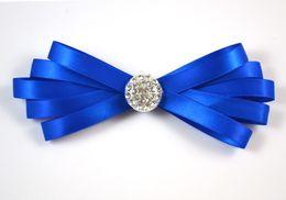 Mens Neck Bowtie Bow Tie Fashion Pinned Wedding Bow Ties Blue Ribbon Diamond Bow Ties