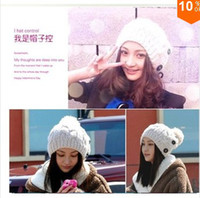 Wholesale 2014 Hot New female Hat winter for women in women s Beanies Button Twisted Knitted cap Apparel Accessories Knitting Warm Hat