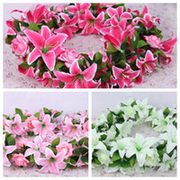 Wholesale 160cm quot Length Artificial Silk Flower Vine Simulation Lily Rose Portfolio Rattan Garlands Arches with Flowers Home Showcase Decorations