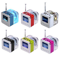 Wholesale LED Crystal Mini Speaker TT MP3 Music Player support Micro SD TF USB Disk FM Radio LCD Display