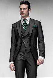 New Morning Style Groom Tuxedos One Button Black Peak Lapel Best man Groomsman Men Wedding Suits Bridegroom (Jacket+Pants+Tie+Vest) J160