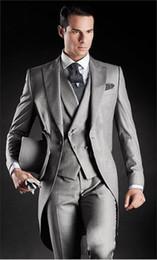 Morning Style Light Grey Groom Tuxedos One Button Peak Lapel Best man Groomsman Men Wedding Suits Bridegroom (Jacket+Pants+Tie+Vest) J161