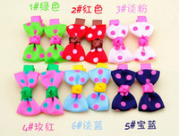 Barrettes Linen Dot Hair Band Baby Girls Headwear Flowers Headband Children Hair Clips Barrettes Tiara Ribbon Headwear Candy Handmade Double BB Hairband 2014