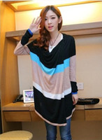 Wholesale Women s clothing New Loose Stripes No buckle Knitting Cardigan sweater Shawl Long pattern nm