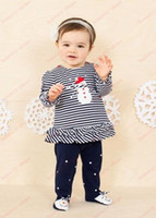 Unisex baby girl leggings with feet - New Cute Christmas Set Girls Christmas striped long sleeved T shirt leggings with foot Baby suit