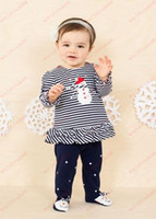 Unisex baby girl leggings with feet - Hot Sale Christmas Set Girls Christmas striped long sleeved T shirt leggings with foot Baby suit