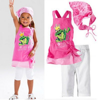 Wholesale Baby Kids Clothing Children Outfit Girl Waistcoat Pants Frog Waist
