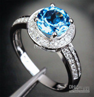 Wholesale Amazing Fancy Jewelry Round mm Solid Kt White Gold Natural Ct Diamond Blue Topaz Ring