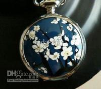 Cheap Wholesale - Free shipping~Fashion Chinese style national plum flower pocket watch necklace,fashion jewelry,fash
