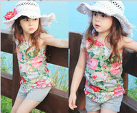 Wholesale Summer Girls Clothing Set Pure Cotton Inclined Condole Belt Floral T Shirt Shorts Children Set Baby Kids Suit Outfits Wear QZ315
