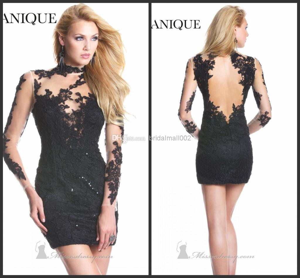 2015 Sexy Short Skirt Applique Long Sleeve Sheer Lace Dress By ...