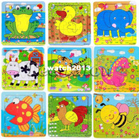 Wholesale 10pcs parts child wooden Jigsaw cartoon animal wood puzzle Educational Toys