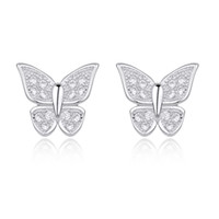 Women's genuine diamond earrings - Ai core genuine diamond earrings Korean version of the Butterflies full sterling silver earrings sterling silver butterfly earrings hypo