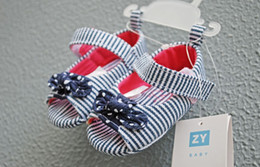 Wholesale baby girls stripe floral summer sandals toddlers infant first prewalkers shoes soft sole