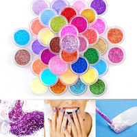 Nail Art Tools Nail Art Bead  Wholesale - 225 Pcs Lot 45Colors Metal Shiny Nail Art Tool Kit Acrylic UV Glitter Powder Dust Stamp free shipping by DHL