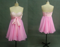 Wholesale Cheap Short Prom Cocktail Dresses Strapless A Line Sleeveless Beaded Ruched Organza Bow Front Above Knee