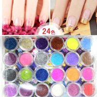 Nail Art 3D Decoration Nail Art Rhinestones  Wholesale - 24 Colors Nail Art Glitter Powder Dust For UV GEL Acrylic Powder Decoration Tips