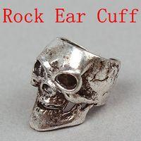 Clip-on & Screw Back screw back earrings - Rock Punk Vintage Skull Ear Cuff Silver Fashion Jewelry Unisex Earrings Clip on amp Screw Back