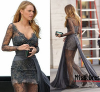 Wholesale 2014 Gossip Girl fashion Blake Plunging Neckline Long Sleeve Sheer Lace Zuhair Murad Grey Cocktail Party Dresses