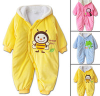 baby fleece coverall - Baby Clothes Winter Coverall Cartoon Hooded Fleece Snowsuit Winter Windsuit Romper Children Winer Costume Rompers Different colors
