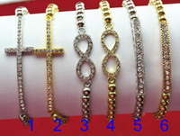 Wholesale Fashion Jewelry acrylic CCB Beads Sideways Cross Infinity Tube Charm Elastic Stretch Bracelet