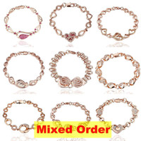 Wholesale Top Quality Mixed Order Multi Styles Fashion Vogue K Rose Gold Plated Charm Big Heavy Chain Bracelets BC125
