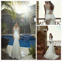 Wholesale 2014 New Galia Lahav Sleeveless Applique Bridal Gown Mermaid Spaghetti strap White Satin Dress Court Train Wedding Dresses