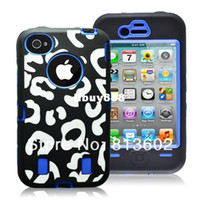 For Apple iPhone Metal Yes Free shipping DHL,For iphone case 4 4s shell fashion leopard print zebra print 2 in 1 Hybrid Armor case