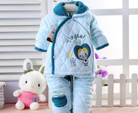 Unisex Spring / Autumn Long Kids Boys Girls Stripe Yingtai Baby clothes +apple Pants Sets Suits Outfits 5Sets Free Shipping