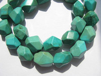 turquoise nugget beads - high quality turquoise gemstone nuggets barrel faceted green blue tibetant jewelry beads mm strands inch L