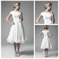 Wholesale 2014 Sexy Short Sleeves White Chiffon Bridesmaid Dresses Tea Length Ruffles Little Summer Beach Cheap Wedding Gowns