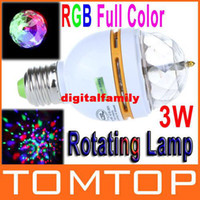 Wholesale 3W E27 Full Color LED Crystal Voice activated Rotating Stage Light DJ Lamp Light Bulb Stage Lighting