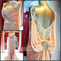 Wholesale Dazzing Crystal A Line Long Prom dress Shoulder strap Sweep Train Sequins Evening Party Gowns Prom Dresses
