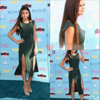 Reference Images Satin Classic 2013 Red Carpet Dress Selena Gomez Dark Green Cutout Dress at Teen Choice Awards Celebrity Gowns