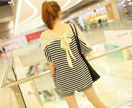 Wholesale Summer dresses Women s clothing Fashion Stripes Chain link fence Hollow Loose Skinny Short sleeve T shirts