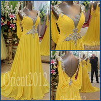 Wholesale 2014 Charming Amazing Prom dress Swarovski Crystal A Line V Neck Yellow Chiffon Evening Party Gowns Prom Dresses