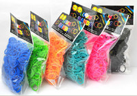 Wholesale Rainbow Loom Kit DIY Wrist Bands Rainbow Loom Bracelet for kids bands C clips Colors