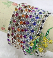 Wholesale MIC IN STOCK Colorful Spring Row Rhinestone Bracelet Tennis