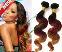 Wholesale Brazilian Ombre Hair Weave Body Wave Three Tone Combine With Color b Remy Human Hair Weaving by EMS