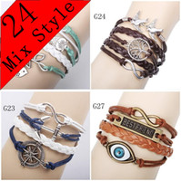 Wholesale 24 Mix Style Infinite Believe Hunger Games Anchor Love Jesus Owl Multilayer Pattern Leather Bracelet