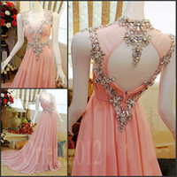 Wholesale Charming Amazing Swarovski Crystals Prom dress Pink Floor Length Chiffon Formal Evening Party Gowns Prom Dresses